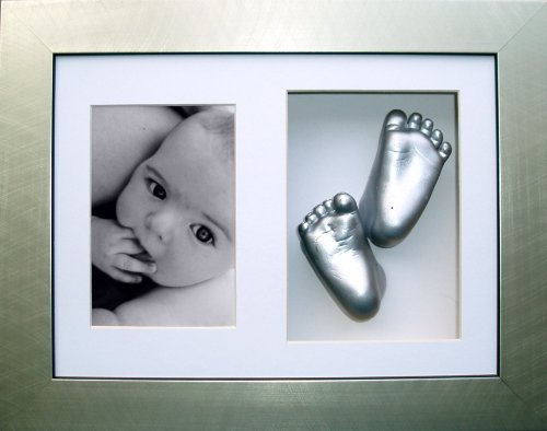 Anika-Baby 11.5 x 8.5inch BabyRice Baby Casting Kit with 3D Box Dislpay Frame (Metallic Silver)