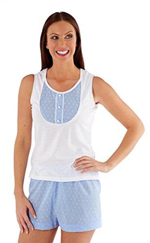 Ladies Sleeveless Jersey Top With Wooven Shorts Pyjamas Set BLUE 18-20