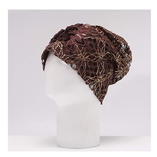 SSHZJUS Sombrero de Mujer Sección de otoño de Primavera Sombrero de Encaje Sombrero de Cabeza Sombrero de Cabeza de Luna Gorras de quimioterapia de Pila (Color : Marrón, Size : 55-60cm)