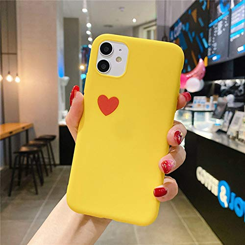 AAA&LIU para iPhone 11 XR Funda para teléfono Love Hear Funda Trasera Simple para iPhone 11 Pro MAX X XS MAX 6 6s 7 8 Plus Funda de Color sólido, Amarillo, para iPhone 8 Plus