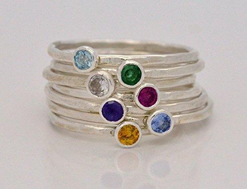 Inverted Gemstone Ring Choose Your Birthstone Mothers Ring Sterling Silver Birthstone Ring Cocktail Ring Birthstone Stacking Ring