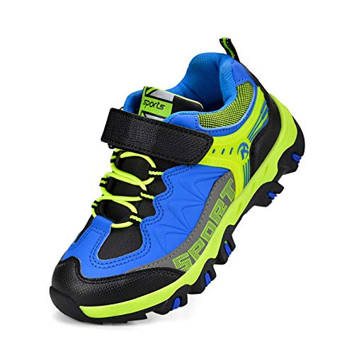 Feetmat Boys Girls Running Shoes Waterproof Outdoor Hiking Shoes Athletic Sports Shoes Kids Sneakers Black/Blue 13 Little Kid