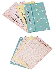 إجمالي 72 قطعة، 48 قطعة من الورق المقوى لكتابة الحروف مع 24 قطعة، مجموعة هدايا لطيفة وجميلة بحرف زهري طازج ومجموعة هدايا دعوة للحفل أو كهدية أو 4 ألوان
