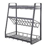 BTGGG 3 Tier Spice Rack Metal Standing Kitchen Storage Basket Organiser Modern Countertop Seasoning Bottle Shelf Holder-A