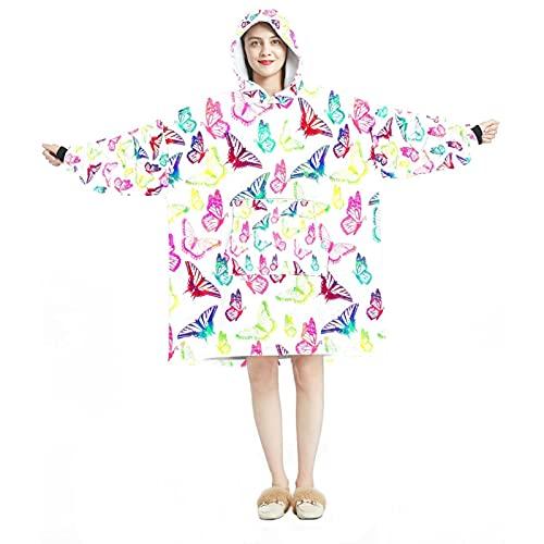 Manta con capucha, casual suave microfibra casera, camisón cálido para hombres y mujeres con coloridos diseños de enjambre de mariposas