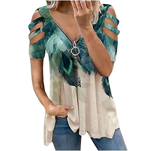 WANGTIANXUE Blusa para mujer, para verano, cuello en V, estampada, manga corta, con cierre de cremallera, hombros descubiertos, moda de calle verde XXL