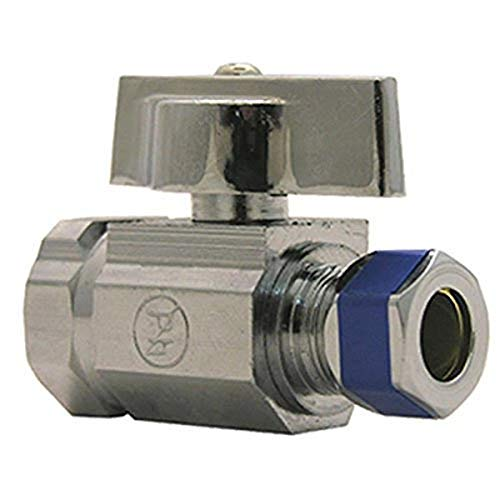 Product Image of the LASCO 06-9273 Straight Stop Quarter Turn Ball Valves, 1/2-Inch Iron Pipe Inlet X 3/8-Inch Compression Outlet, Chrome