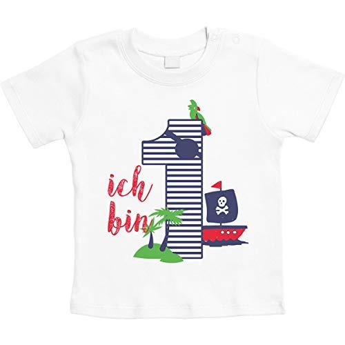 Shirtgeil 1 Jahr Geburtstag Piraten Geschenk Jungen Baby T-Shirt 12-18 Monate Weiß