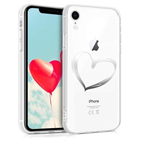 kwmobile Hülle kompatibel mit Apple iPhone XR - Hülle Handy - Handyhülle Herz Brush Silber Transparent