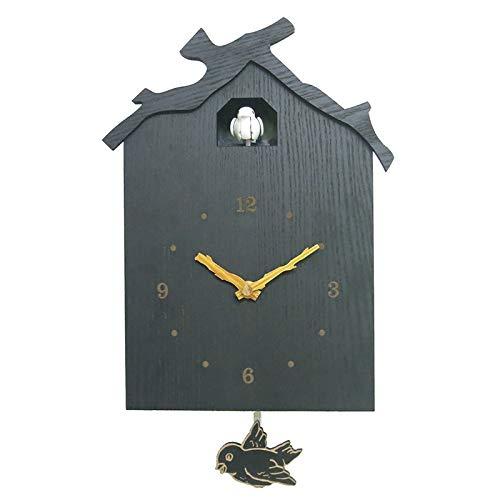 CareMont Casa del PáJaro Reloj de Cuco Moderno Reloj de Pared de PéNdulo con Llamada de PáJaro Natural Regalos para NiiOs- con Pilas