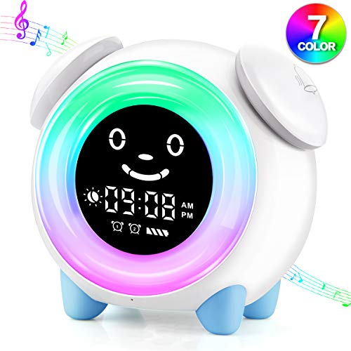 Kids Alarm Clock for Kids, 7 Color Night Light, Sunrise Sunset Simulation, Adjustable Brightness of Screen, OK to Wake Clock for Bedroom Toddler Boys Girls Birthday Gift