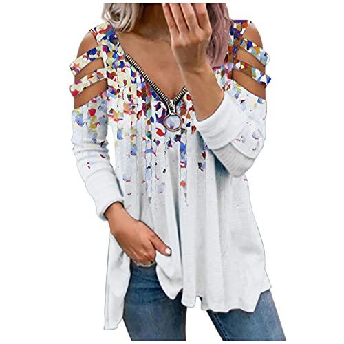 Xmiral Damen Langarm Shirt Reißverschluss V-Ausschnitt Blumendruck Bluse Slim Fit Streifen Schulterfrei Oberteil(Weiß,M)