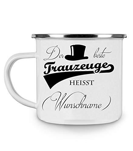 Crealuxe Emailletasse m. Wunschname Der Beste Trauzeuge heißt (Wunschname) - Kaffeetasse mit Motiv, Bedruckte Tasse mit Sprüchen oder Bildern