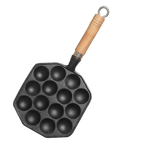 Hemoton Molde para Sartén Takoyaki Plato de Caracol de Metal con Mango de Madera Plato de Escargot de 14 Agujeros Bandeja Antiadherente para Panqueques de Hierro Fundido