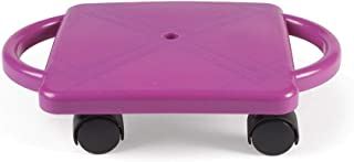hand2mind-77103 Purple Indoor Scooter Board With Safety Handles For Kids Ages 6-12, Plastic Floor Scooter Board With Rolle...