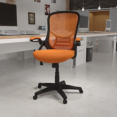 Flash Furniture High Back Orange Mesh Ergonomic Swivel Office Chair with Black Frame and Flip-up Arms