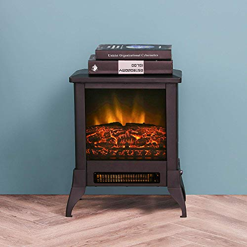"LOKATSE HOME 14"" Electric Fireplace Space Stove Heater Freestanding with Realistic Flame, 2 Heat Modes, 1400W Ultra Strong Power, Overheating Safety Protection, 14 inch"