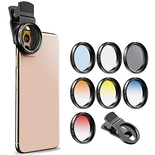 Apexel 52MM Clip-on Graduated Color Polarizer CPL Filters Kit-Professional Photography Cellphone Camera Lens Filters for iPhone Samsung Smartphone (APL-52UV-7G Graduated Color)