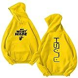 GLMAS Wade # 3 De Calor Uniforme De Baloncesto con Capucha De Los Hombres, Camiseta De Los Deportes De La Chaqueta De La Camisa De Deportes Uniforme Amarillo (S ~ 4XL) yellow2-XL