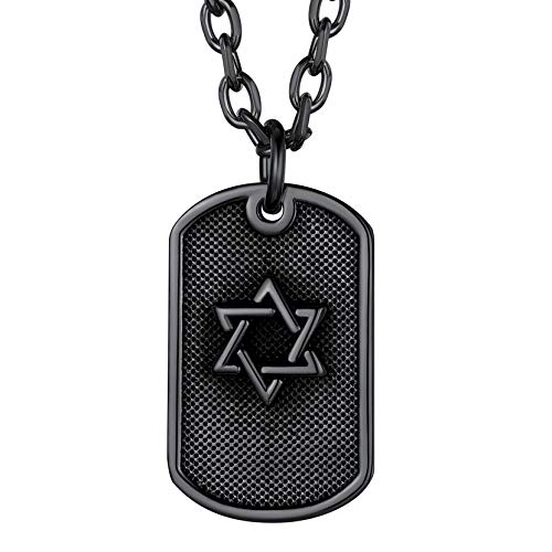 Richsteel Colgante de Placa Militar con Estrella de David, Negro