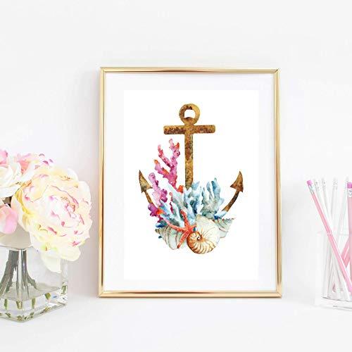 Din A4 Kunstdruck ungerahmt Korallen Seestern Muscheln Anker Maritim Meer Ozean Badezimmer Druck Poster Bild