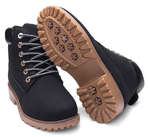 DADAWEN Women's Lace Up Low Heel Work Combat Boots Waterproof Ankle Bootie Black US Size 8.5