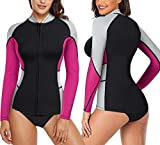 CtriLady Wetsuit Top, Women's Wetsuit Long Sleeve Jacket Neoprene 1.5mm High-Necked Wetsuits with Front Zipper for Swimming, Diving, Surfing, Boating, Sauna, Fitness and Sweating(Rose, S)