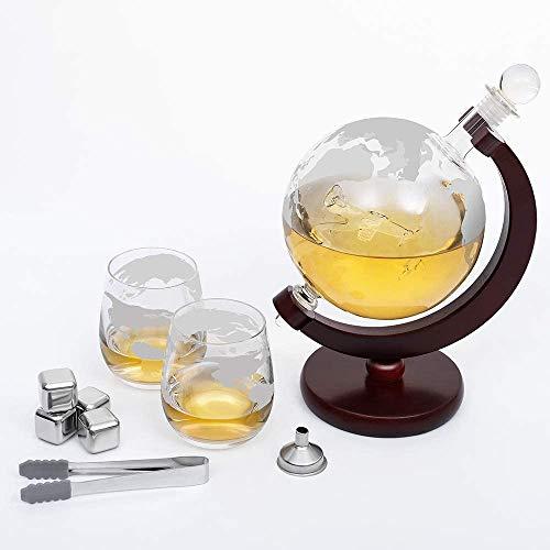 HAITRAL Globus - Set decanter per whisky, modello aereo, 2 bicchieri da vino, 4 pietre da whisky, pinze per ghiaccio, decorazione globale, incisa, capacità 1500 ml, per padre e marito