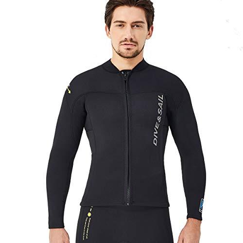 ウエットスーツ タッパー メンズ 1.5mm 長袖 ジャケット ネオプレン素材 フロントジッパー サーフィン ウエットスーツ シュノーケリング 沢登 磯釣り A1403M-BK-L