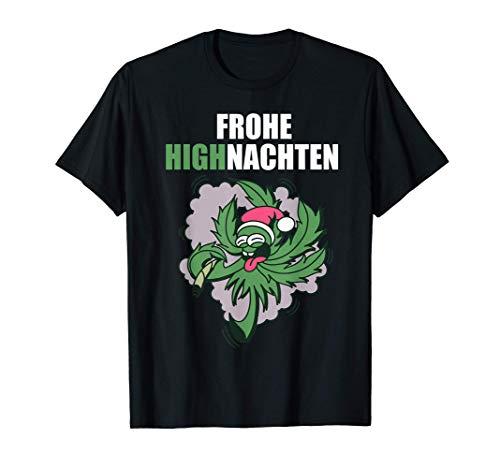 Herren Frohe Highnachten Cannabis Patient Geschenk Weed Hanf T-Shirt