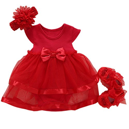 Niyage Baby Girls Clothes Dress Headband Shoes 3 Pcs Set Flowers Party Outfit Romper Dress-Red 0-3 Months