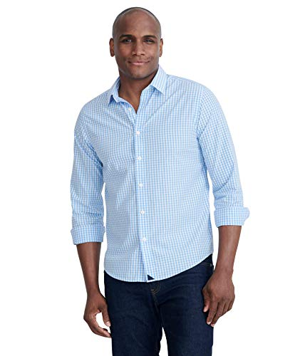 UNTUCKit Carneros - Untucked Shirt for Men Long Sleeve, Light Blue Gingham, X-Large Slim Fit