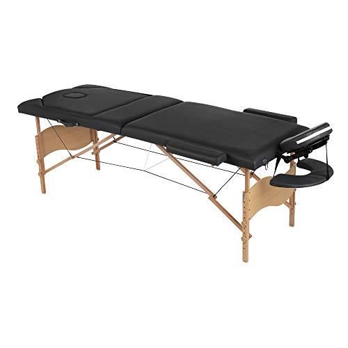 Melko Massageliege klappbar höhenverstellbar 3 Zonen Massagetisch tragbar Massage Betten Premium-PU-Leder in Schwarz