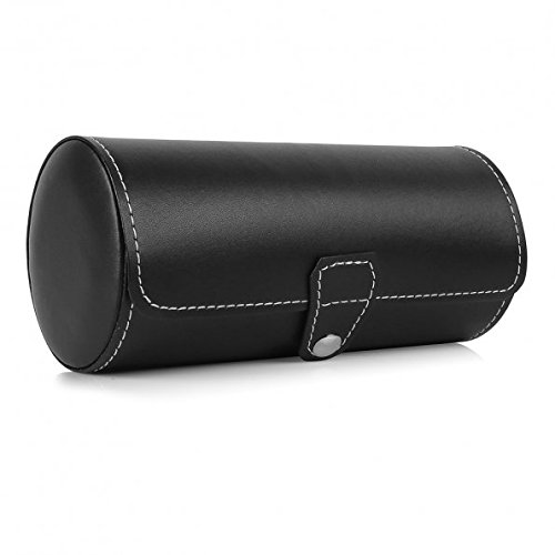 Leatherette Roll Travelers Watch Storage Organizer for 3 Watch and/or Bracelets (Black)
