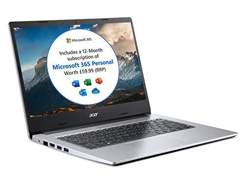Acer Aspire 1 A114-33 14 inch Laptop (Intel Celeron N4500, 4GB RAM, 64GB eMMC, Full HD IPS Display, Windows 10 in S Mode, Office 365 Personal, Silver)