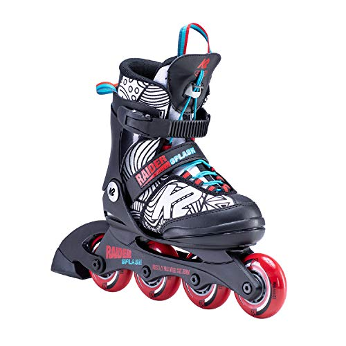 K2 Skates Jungen Raider Inline Skates, black-red-splash, 32-37 EU