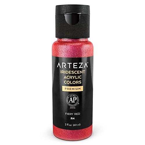 Arteza Acrylfarbe irisierend, R4 Feuriges Rot, Chamäleonfarbe in 60 ml-Flasche, hochviskose schimmernde Acrylmalfarbe wasserbasiert und mischbar, irisierende Farbe für Leinwand, Holz, Steine, Stoffe
