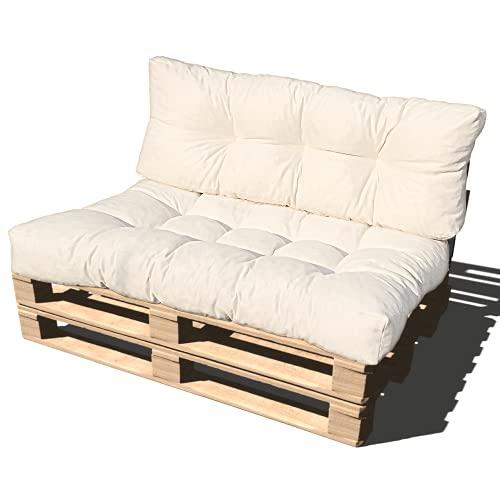 ValoreItalia Cuscino per Bancale Divano Pallet 80X120 Seduta e Schienale in Microfibra per Bancali (Crema)