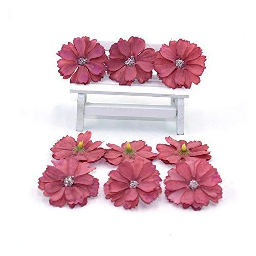 JINGGEGE Mini flores artificiales de seda para decoración del hogar, boda, decoración del hogar, decoración de boda, tocado Fa, 50 piezas de 4,5 cm (color: 16)