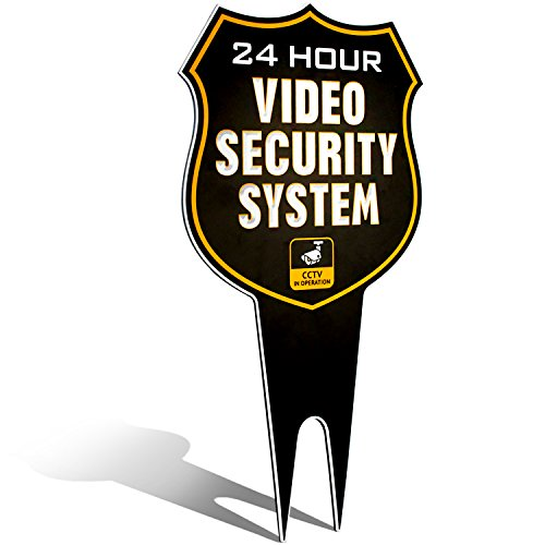 Ultra Reflective Warning 24 Hour Video Surveillance Security Camera System in Operation Metal Yard Sign | Stylish Laser Cut Shield Design | Heavy Duty 1/8 Thick DiBond Aluminum (Reflective)