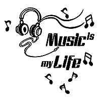 Nicircle 壁紙 部屋飾り ウォールステッカー 音楽は私の人生メガネリムーバブルアートビニール壁画ホームルームの装飾ウォールステッカー 剥がせる Music Is My Life Glasses Removable Art Vinyl Mural Home Room Decor Wall Stickers