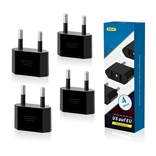 AIEVE 4 Stück US auf EU Reisestecker USA zum 2 Pin Euro/Deutschland Stecker Amerika/Kanada/Mexiko Stecker Adapter Konverter Adapterstecker für Geräte mit US-Netzteil (schwarz)
