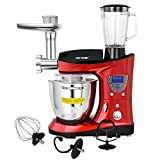 CHEFTRONIC 4 In 1 Multifunction Kitchen Stand Mixer SM-1088, 1000W 7.4QT Precise Heat Stainless Mixing Bowl with Meat Grinder Blender for Mother's Day, Xmas, Wedding, Birthday Gift