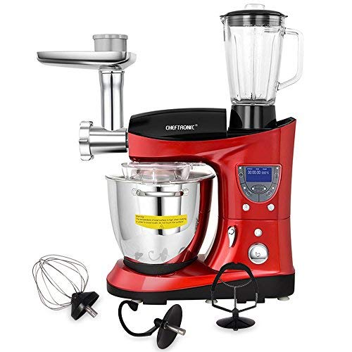 CHEFTRONIC tilt-head Multifunctional Stand Mixer 1000W Kitchen Electric Mixer, 7.4QT Cooking & Mixing Bowl, With Beaters, Meat Grinder, Sausage Stuffer and Juice Blender. (red)