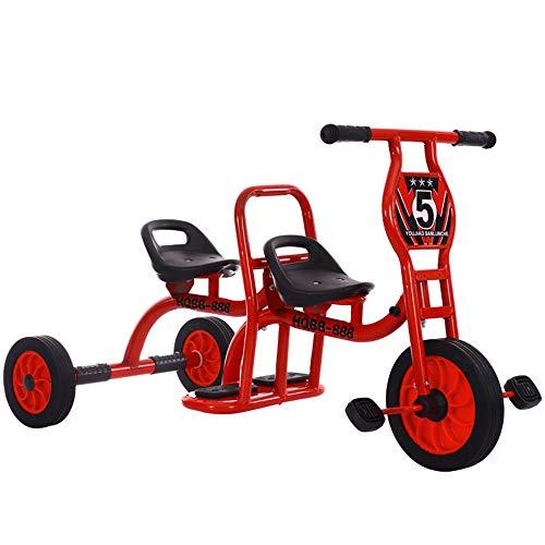 HWJL Kinderwagen Dreirad Doppelfahrrad, Kindergarten Outdoor Spielzeug Pedal Doppel Vorschule Spezielle Kind Dreirad Kinder Dreirad Fahrrad Tandem Baby 2-6 Jahre,Rot