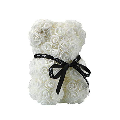 2020 Hot Sale Rabbit Dog Panda Unicorn Teddy Bear Rose Soap Foam Flower Kunstspeelgoed Kerstcadeaus voor vrouwen Valentines Gift, 25cm witte beer