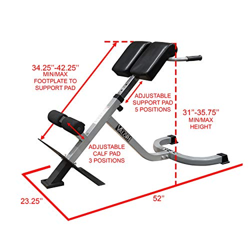 Valor Fitness CB-13 Adjustable Roman Chair/Back Extension Bench Hyperextension Machine Lower Back Exercise Equipment for Back Workout and Ab Bench