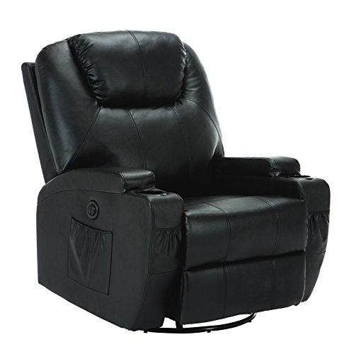 Uenjoy Massage Recliner Electric Massage Sofa Massage Chair with Heating System & 360° Swivel Black Typ1