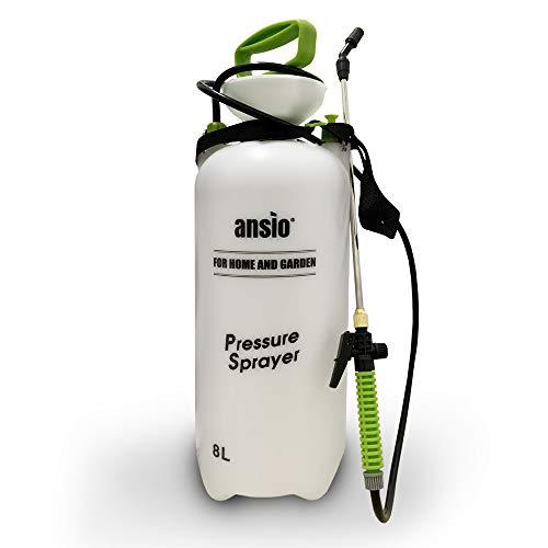 ANSIO Pulverizador Presion 8litros, Pulverizador Agua, Jardin Pulverizador Plantas Ideal for Herbicida, de Malas Hierbas -Manual Bomba Pulverizador
