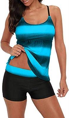 Century Star Women's Athletic Two Piece Tummy Control Swimwear Paisley Printed Swimsuit with Boyshorts Bathing Suit Z Black Blue 3X-Large (fits Like US 14-16)